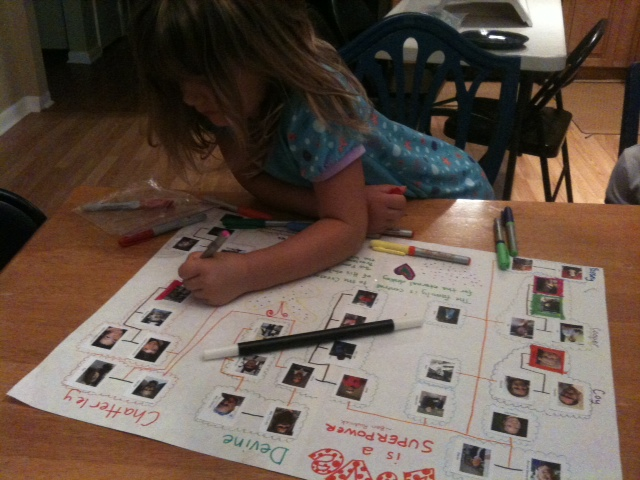 Sammi decorating the family tree