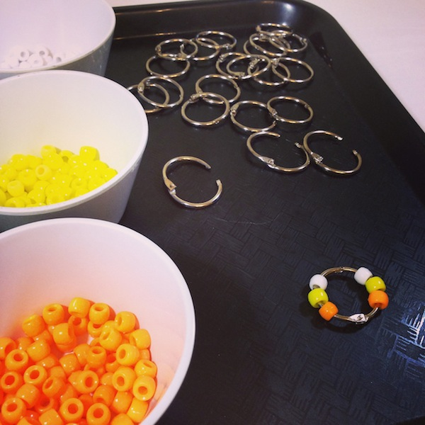 candy corn activity with pony beads