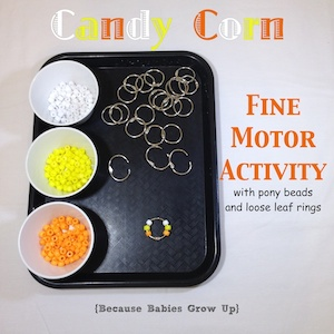 Candy Corn Activity with Pony Beads for Fine Motor Skill practice.