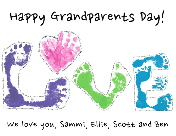 Grandparent's Day poster with kids' hand and foot prints