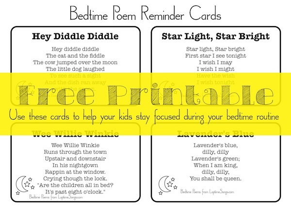 Bedtime Poems free printable